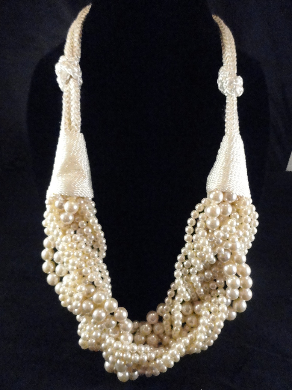 Primary image for 11 Strand 1980's Chunky Cream Torsade Faux Pearl and Braided Rope Necklace