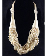 11 Strand 1980's Chunky Cream Torsade Faux Pearl and Braided Rope Necklace  - $59.00