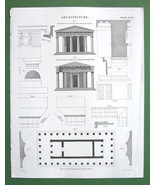 GREECE Types of Doric Temples Capitals - 1842 A... - $7.57