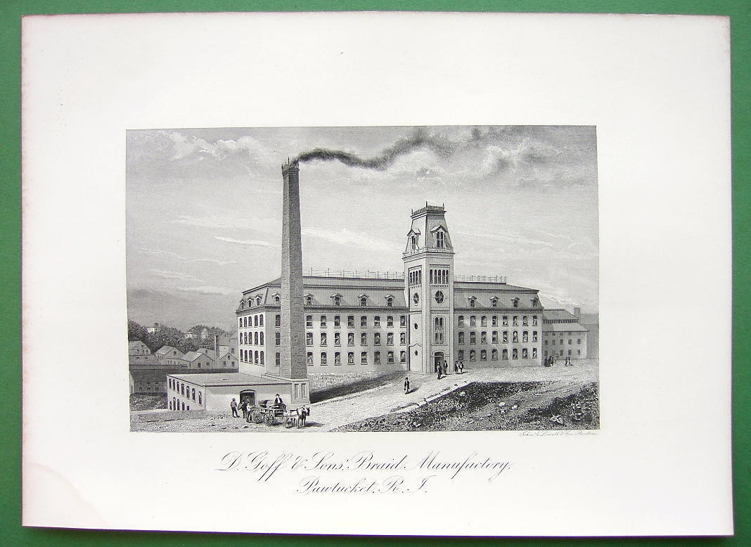 PAWTUCKET RI Goff & Sons Braid Plant !! SCARCE Antique Print Engraving