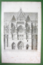 FRANCE Rheims Cathedral Transept & Portal View - FOLIO Antique Print - $15.80