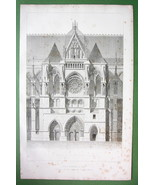 FRANCE Rheims Cathedral Transept & Portal View ... - $15.80