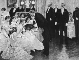 ORIGINAL ETCHING !! High Society Ball Ladies Gentlemen Flirt Fine Dresses - $23.56