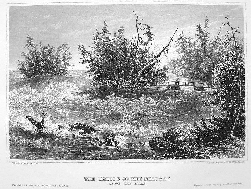NIAGARA RIVER Rapids above Falls - Antique Print Engraving