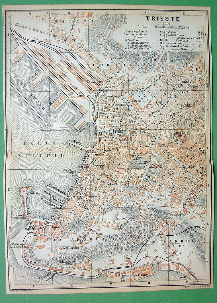 1900 MAP ORIGINAL Baedeker - Trieste in Italy