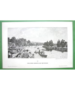 LONDON Regatta Race on Thames River England - VICTORIAN Era Original Eng... - $15.15