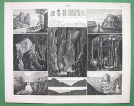 CAVERNS Caves in Spain Gibraltar England - SUPERB Antique Print - $11.78