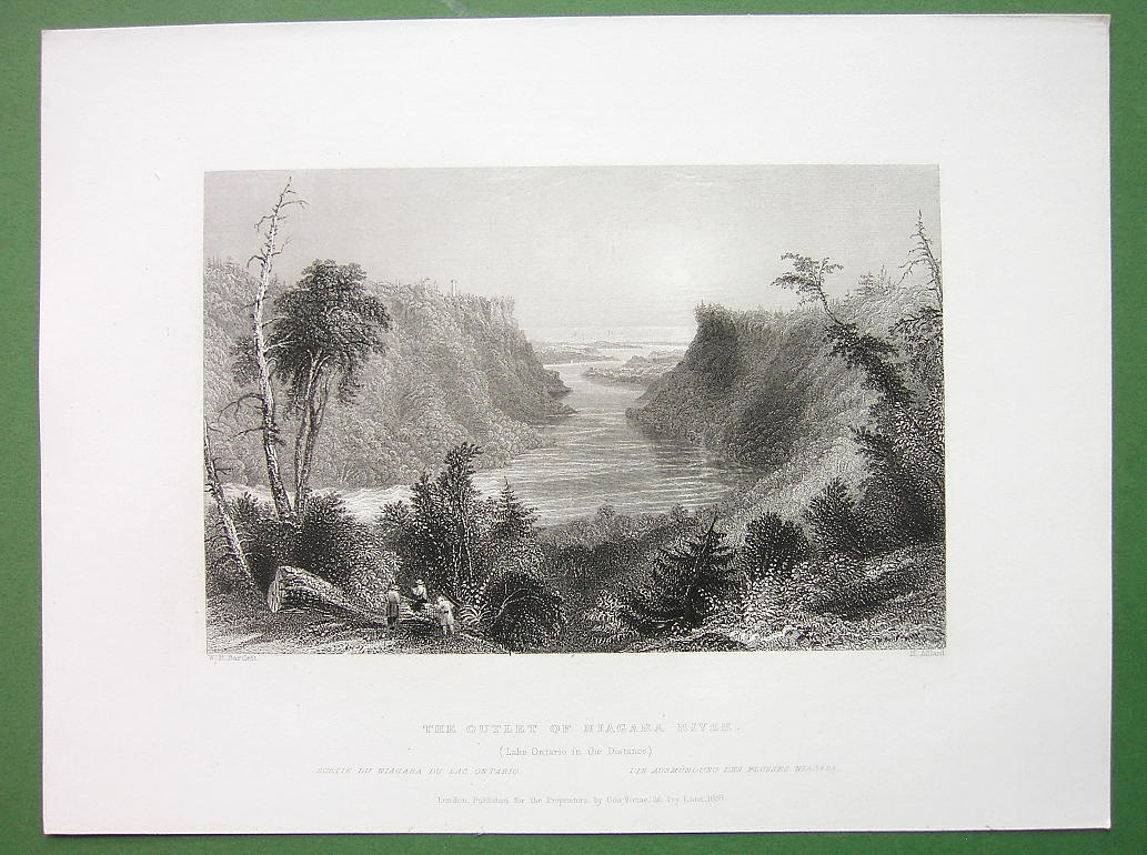 NIAGARA RIVER Outlet & Lake Ontario - Antique Print Engraving