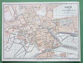 1913 MAP ORIGINAL Baedeker - FRANCE Caen City Plan - $5.46