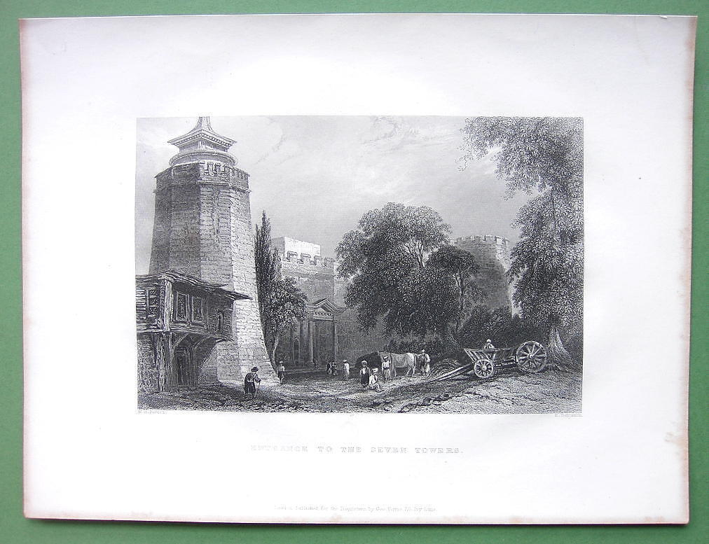 CONSTANTINOPLE Entrance to Prison Seven Towers - ca1840 Original Print Engraving
