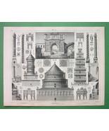 ARCHITECTURE PRINT - ITALY Roman Columns Arches... - $23.56
