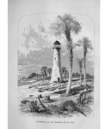 FLORIDA Lighthouse on St. John River - German Antique Print - $20.95