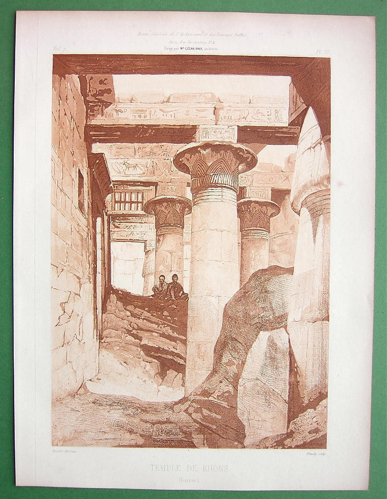 ARCHITECTURE PRINT: Egypt Karnak Temple of Khons