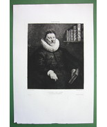 ORIGINAL ETCHING PRINT - Portrait of Renaissanc... - $37.03