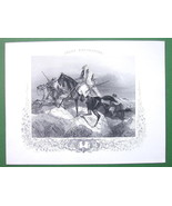 ARABS on Horses in Desert Retreating - Antique Print Engraving - $15.15