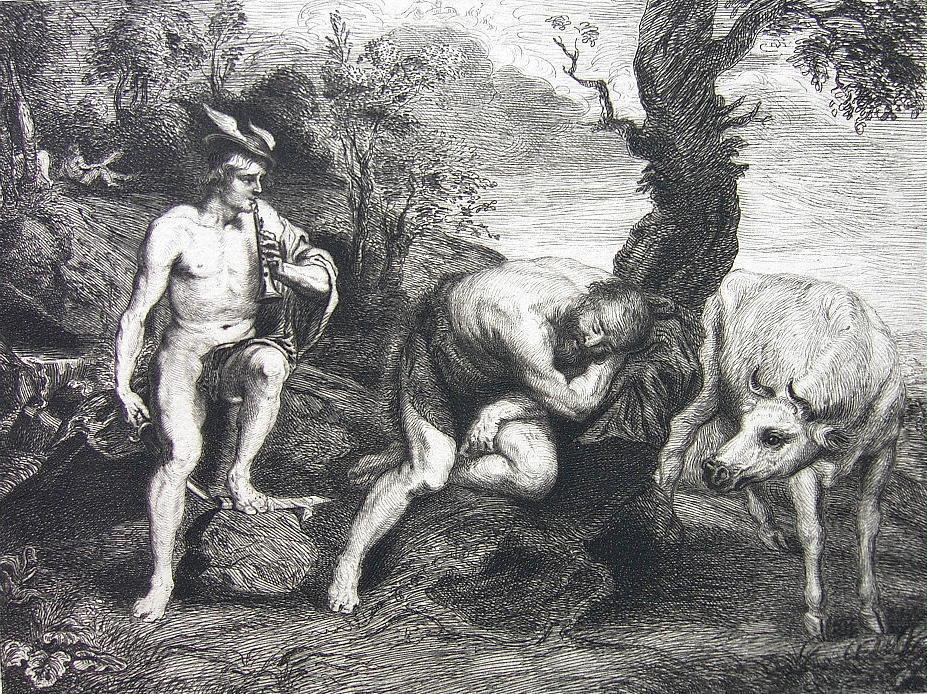 ORIGINAL ETCHING Print - MYTHOLOGY Gods Mercury Argus and Io Cow