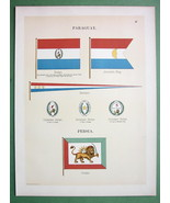 PARAGUAY Naval Flags Pennants & Persia Ensign - 1899 Color Litho Print - $16.41