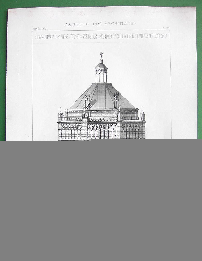 ARCHITECTURE 2 PRINTS : Italy Baptistery at Postoia