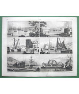 SHIPYARDS & Machinery Building Ships - SUPERB 1844 Antique Print - $23.56