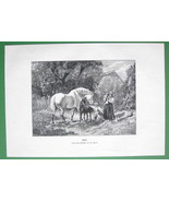 RUSTIC IDYL Mother Children Horses in Garden - VICTORIAN Antique Print - $11.09