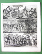 SOUTH AMERICA Natives Indians Negroes Camacans - 1844 Engraving Antique ... - $21.00