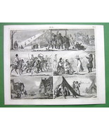 RUSSIA Daily Life Winter Games SLighing Dancing - 1844 Engraving Antique... - $21.00
