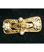 Vintage Gold Filigree Collar Pin with Pearl Details marked Tacoa - $8.00