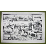 GERMANY Views on Elbe River Various Boats Ships - VICTORIAN Era Print 15... - $20.20
