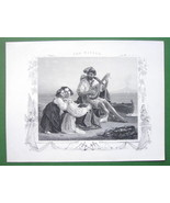 ITALY Family Scene Musician Sea Coast Mount Etn... - $15.15