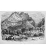 WEST VIRGINIA Seneca Cliffs - 100+ Years Old Antique Print - $10.51