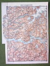 NORWAY Central Sognefjord Sogne Fjord - 1892 MAP ORIGINAL Baedeker - $5.88