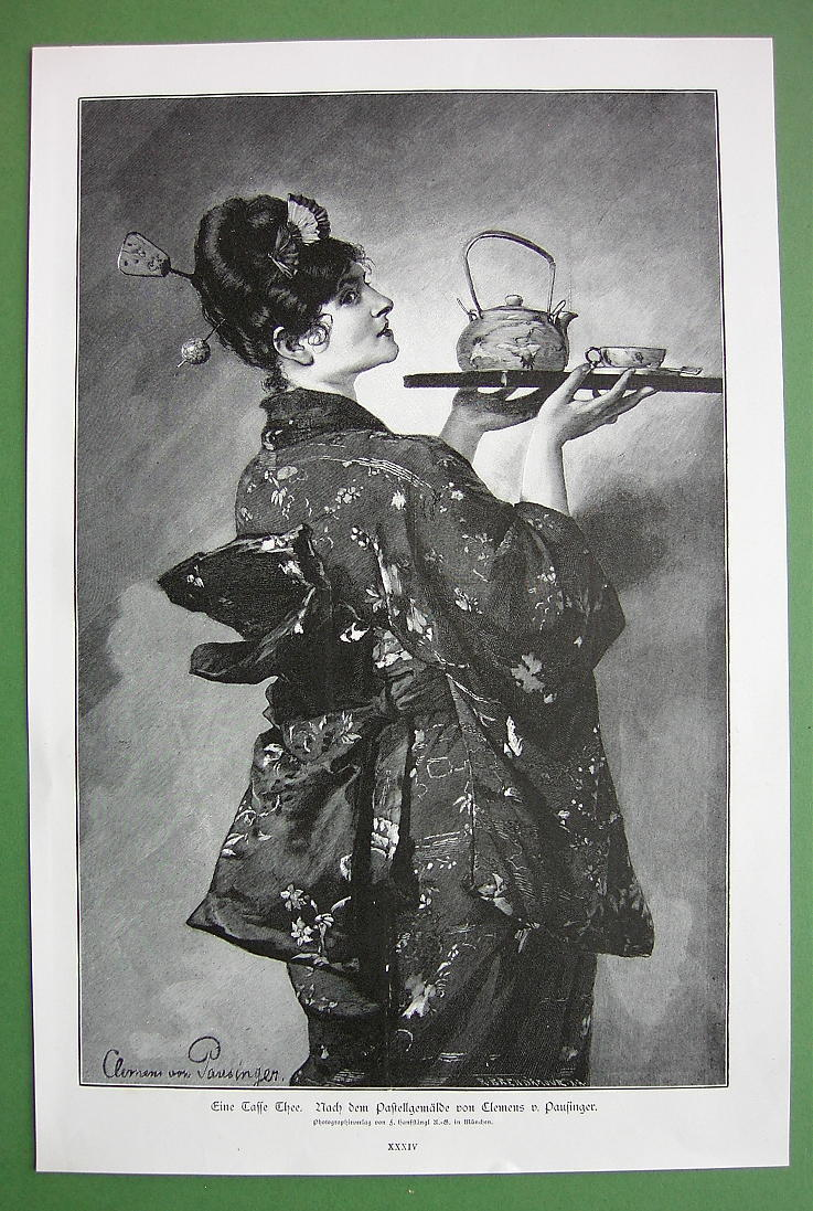 LADY in Kimono Serving Tea - VICTORIAN 1890s Antique Print