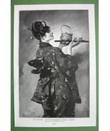 LADY in Kimono Serving Tea - VICTORIAN 1890s An... - $18.51