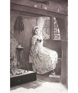 LOVELY MAIDEN Reading Book in Corner Window - A... - $18.51