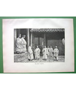CHINA Tibet Tibetian Monks (Lamas) in the Great Temple - 1889 Antique Print - $13.46