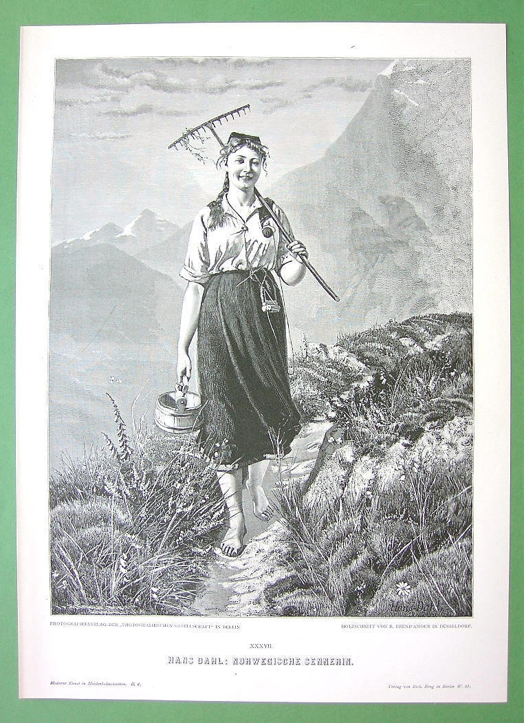 NORWAY Rustic Girl Milkmaid in Field - VICTORIAN Era Original Engraving