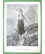 NORWAY Rustic Girl Milkmaid in Field - VICTORIA... - $15.15
