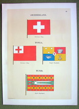 FLAGS TUNIS Tonga Switzerland Standard Naval Marine - 1899 Color Antique... - $12.20