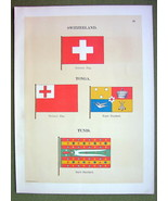 FLAGS TUNIS Tonga Switzerland Standard Naval Ma... - $12.20
