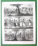 AUSTRALIA Aborigines Tonga Natives Pacific Islands - 1844 Engraving Print - $21.00