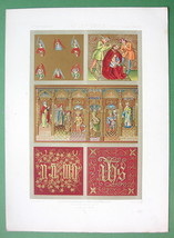 GOTHIC Era Fabrics Letters Ornaments Rulers - COLOR Litho Print by Auber... - $21.03