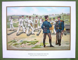 GERMAN IMPERIAL ARMY Railway Troops at Tempelhof Drill - 1899 Color Lith... - $15.15