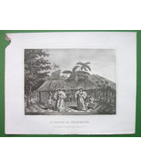 PACIFIC Society Islands Dance in Otaheite O'Taheite - Antique Print Engr... - $15.15