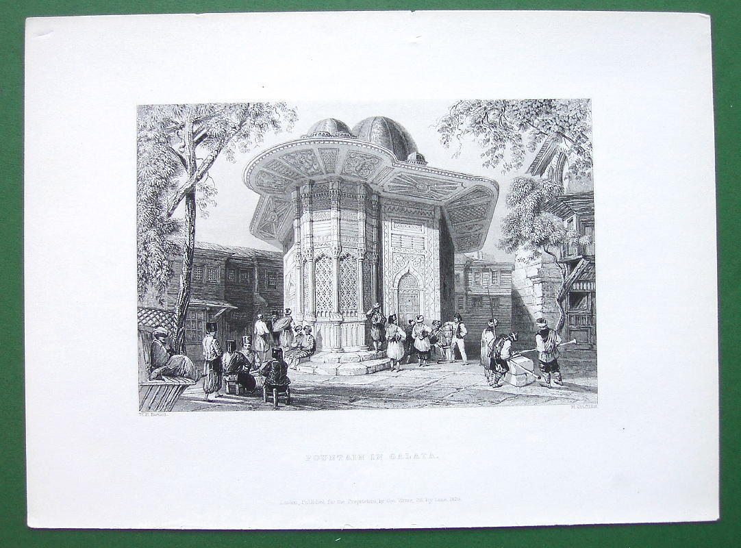 CONSTANTINOPLE FOuntain in Galata - BARTLETT Antique Print Engraving