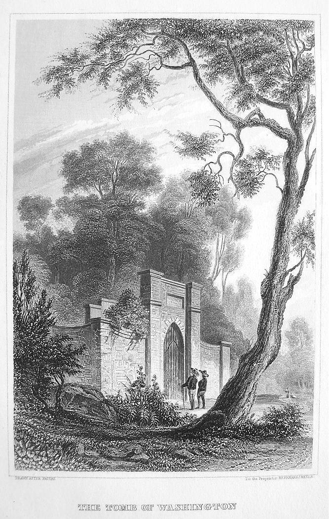 G. WASHINGTON TOMB at Mount Vernon Virginia - Antique Print Engraving
