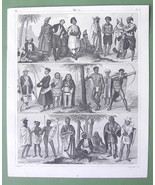 5 RACES of Man Costume Hindoo Persia Europe Negro - 1844 Antique Print Engraving