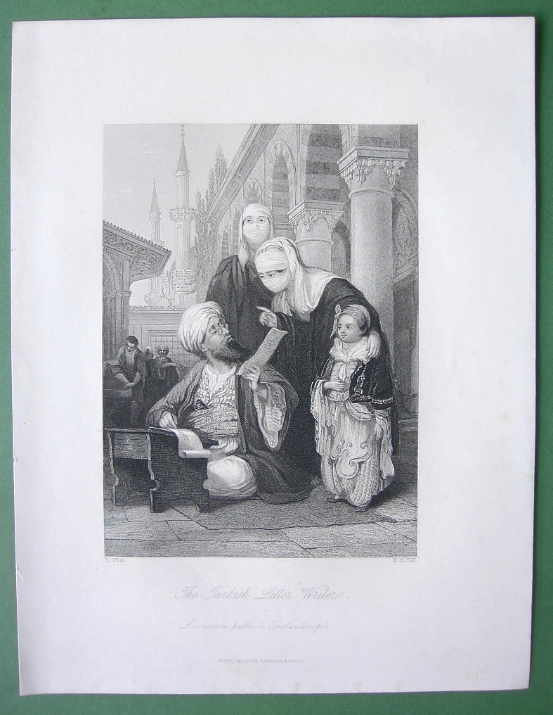 CONSTANTINOPLE Turkish Letter Writer - ALLOM 1840s Original Engraving Print