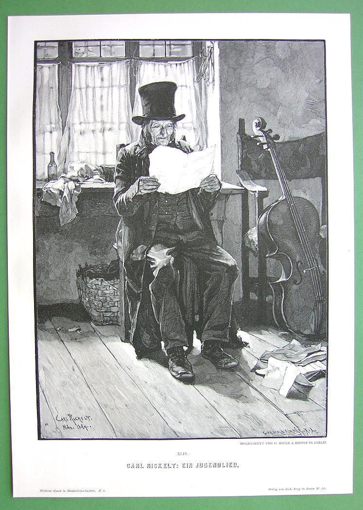 OLD CELLO Player Song from Youth - VICTORIAN Era Original Engraving