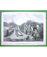 BOWLING GAME in Countryside - VICTORIAN Era Original Engraving - $15.15