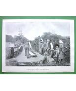 BOWLING GAME in Countryside - VICTORIAN Era Ori... - $15.15